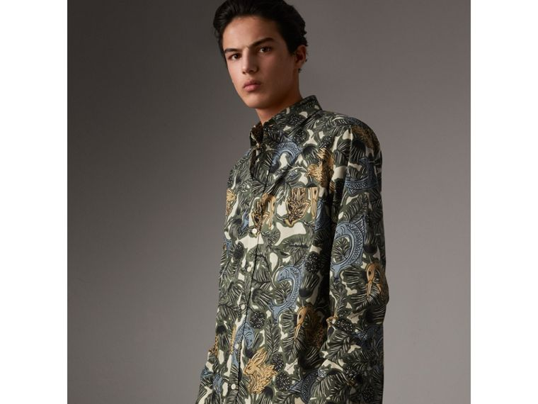 Beasts Print Cotton Poplin Longline Shirt in Sage Green - Men | Burberry - cell image 4