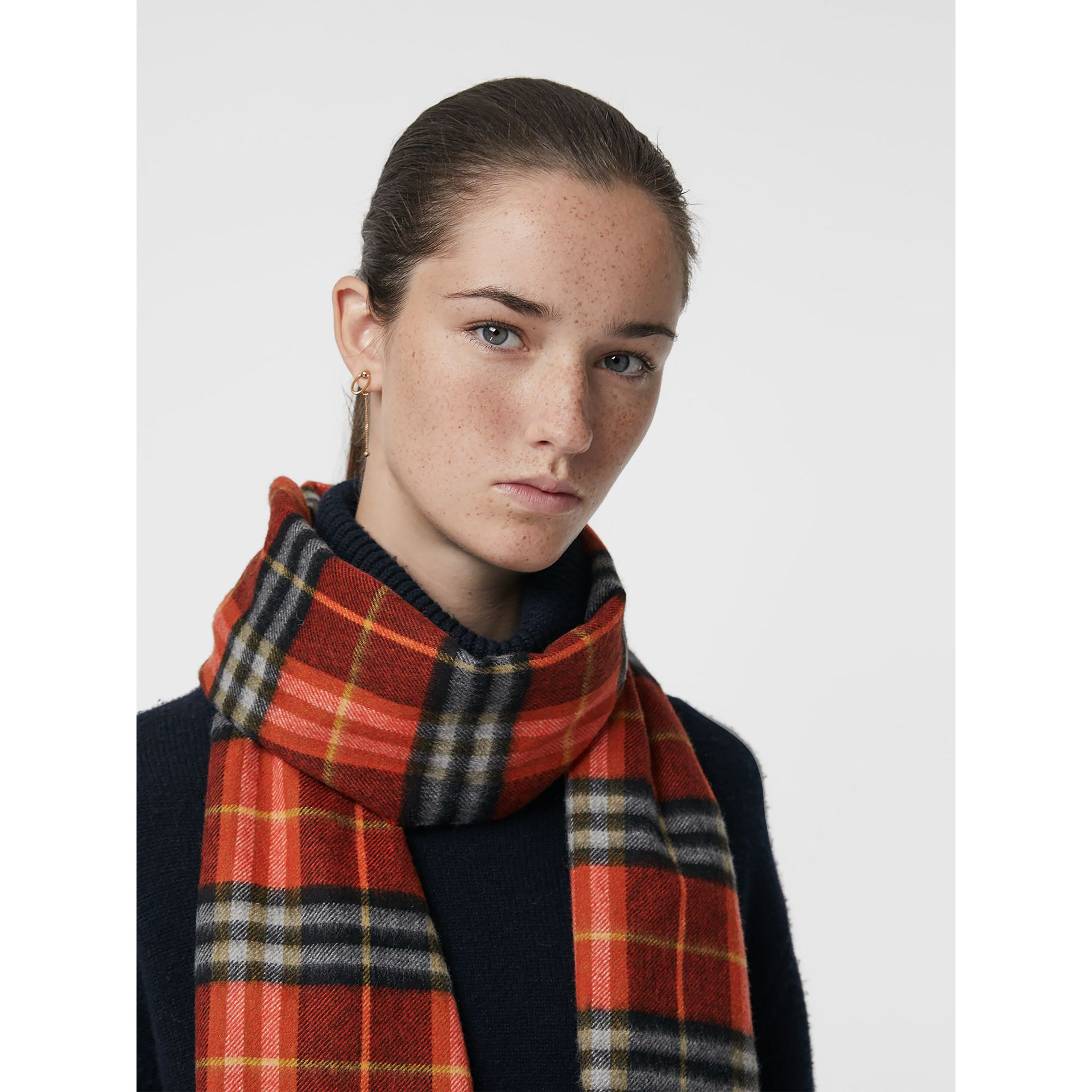 Check Cashmere Scarf in Orange Red | Burberry - gallery image 5