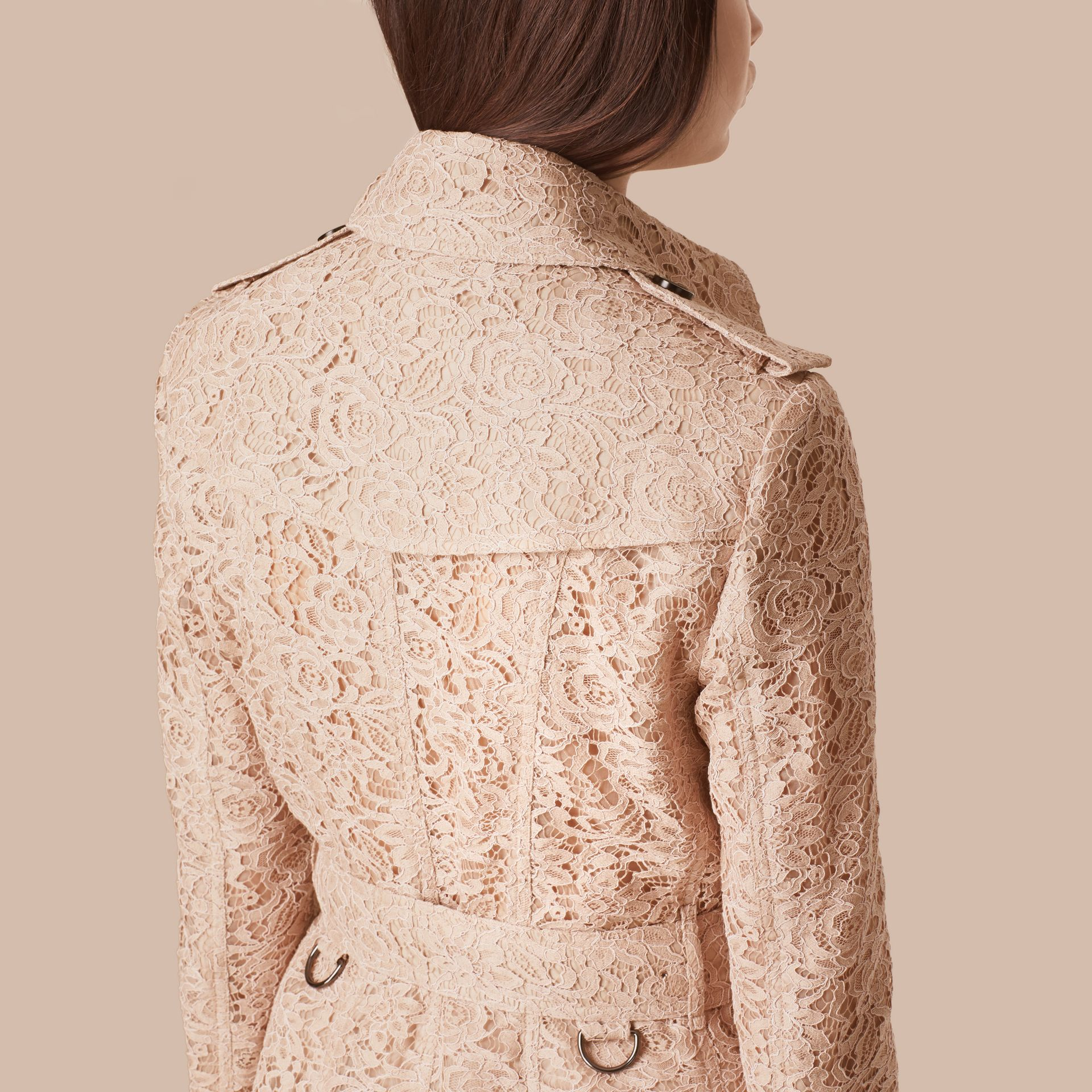 Antique taupe pink Italian Lace Trench Coat - gallery image 6
