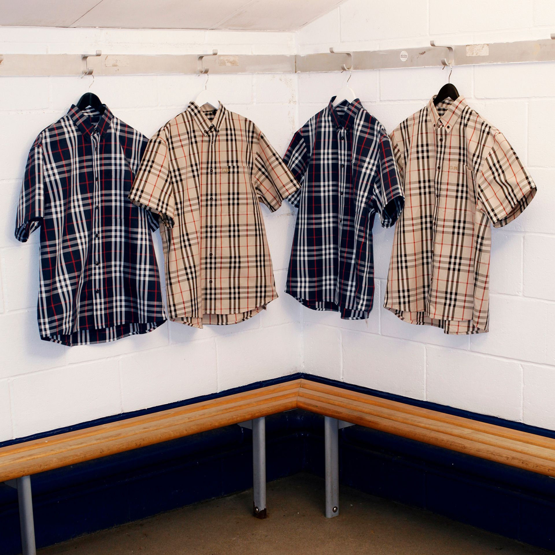 Gosha x Burberry Short-sleeve Check Shirt in Navy | Burberry Canada - gallery image 8