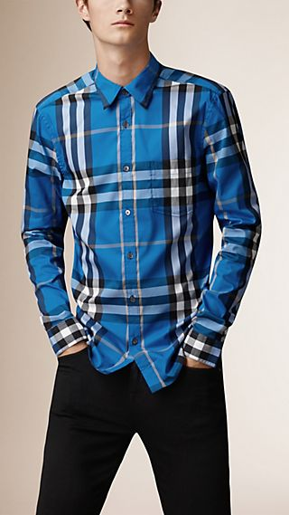 Check Stretch Cotton Blend Shirt