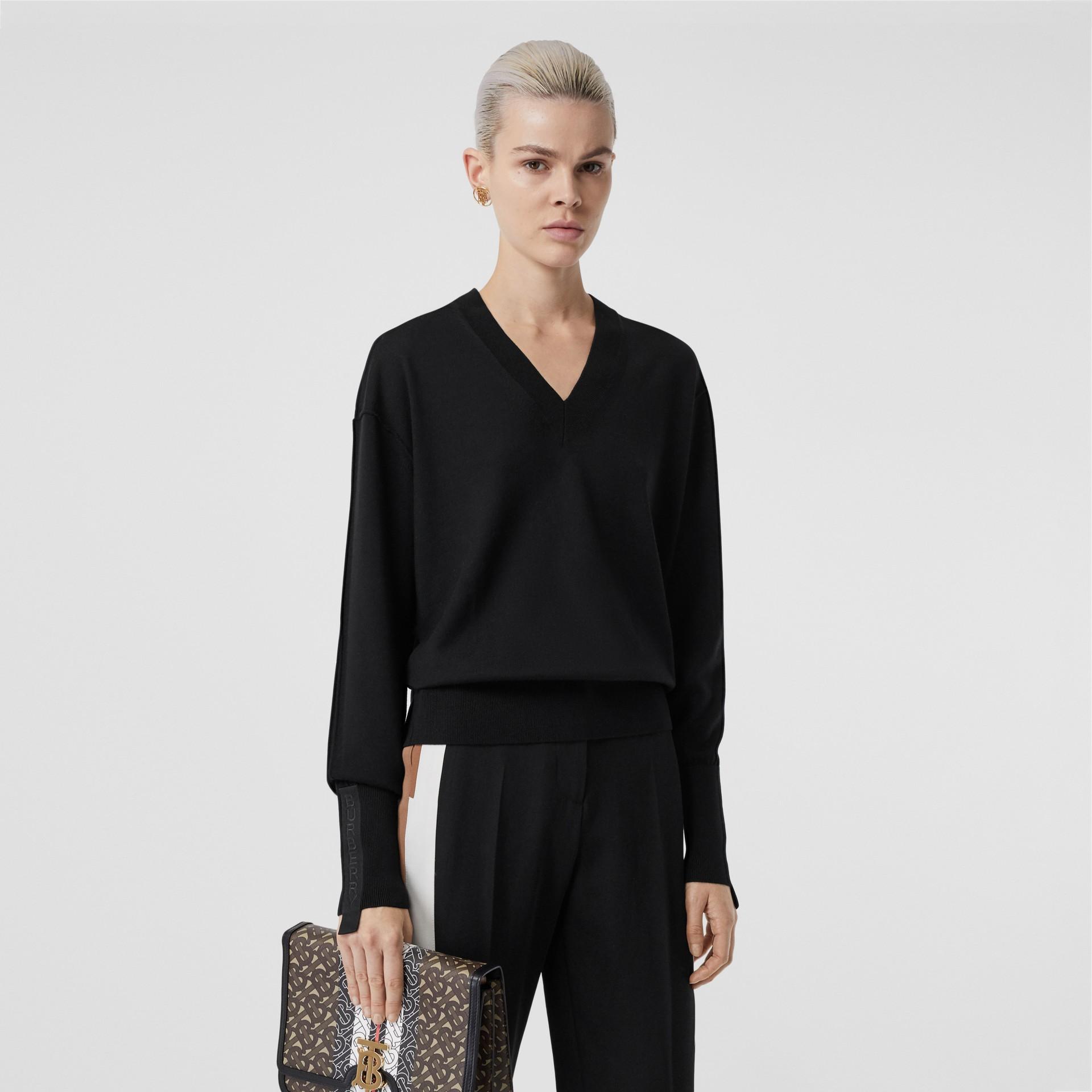 Logo Detail Merino Wool Silk Sweater in Black - Women   Burberry - gallery image 0