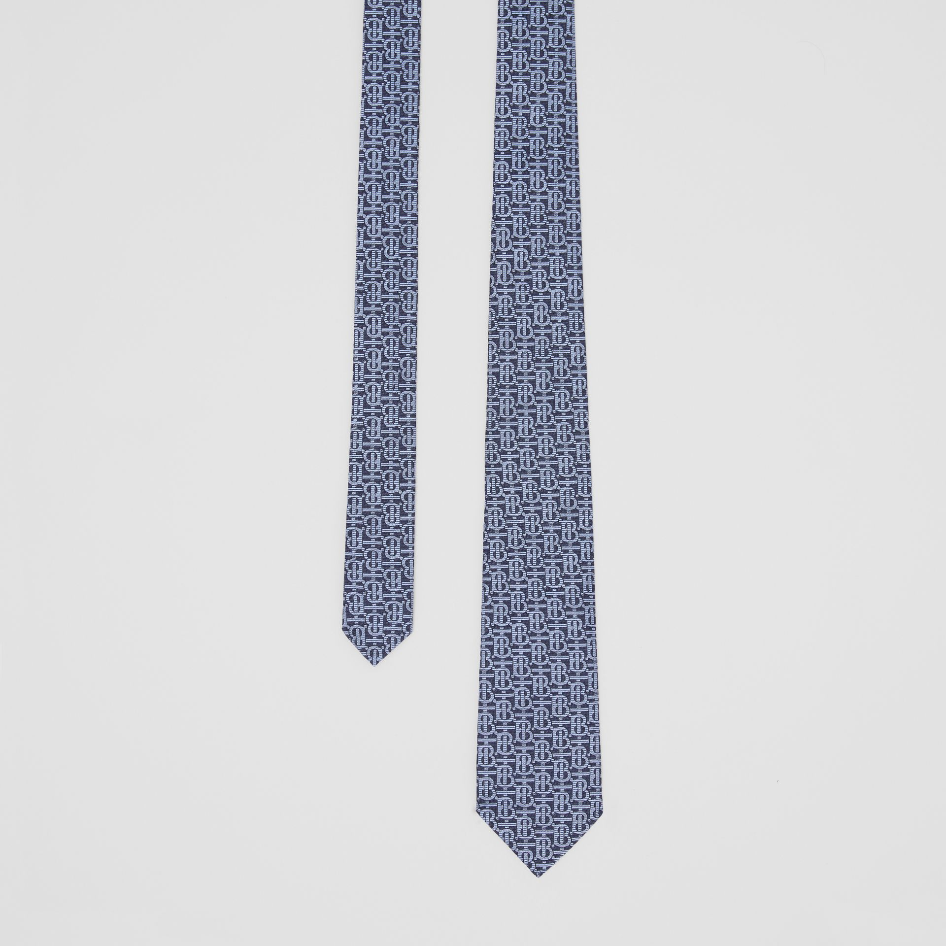 Classic Cut Monogram Silk Jacquard Tie in Bright Navy - Men | Burberry Australia - gallery image 0