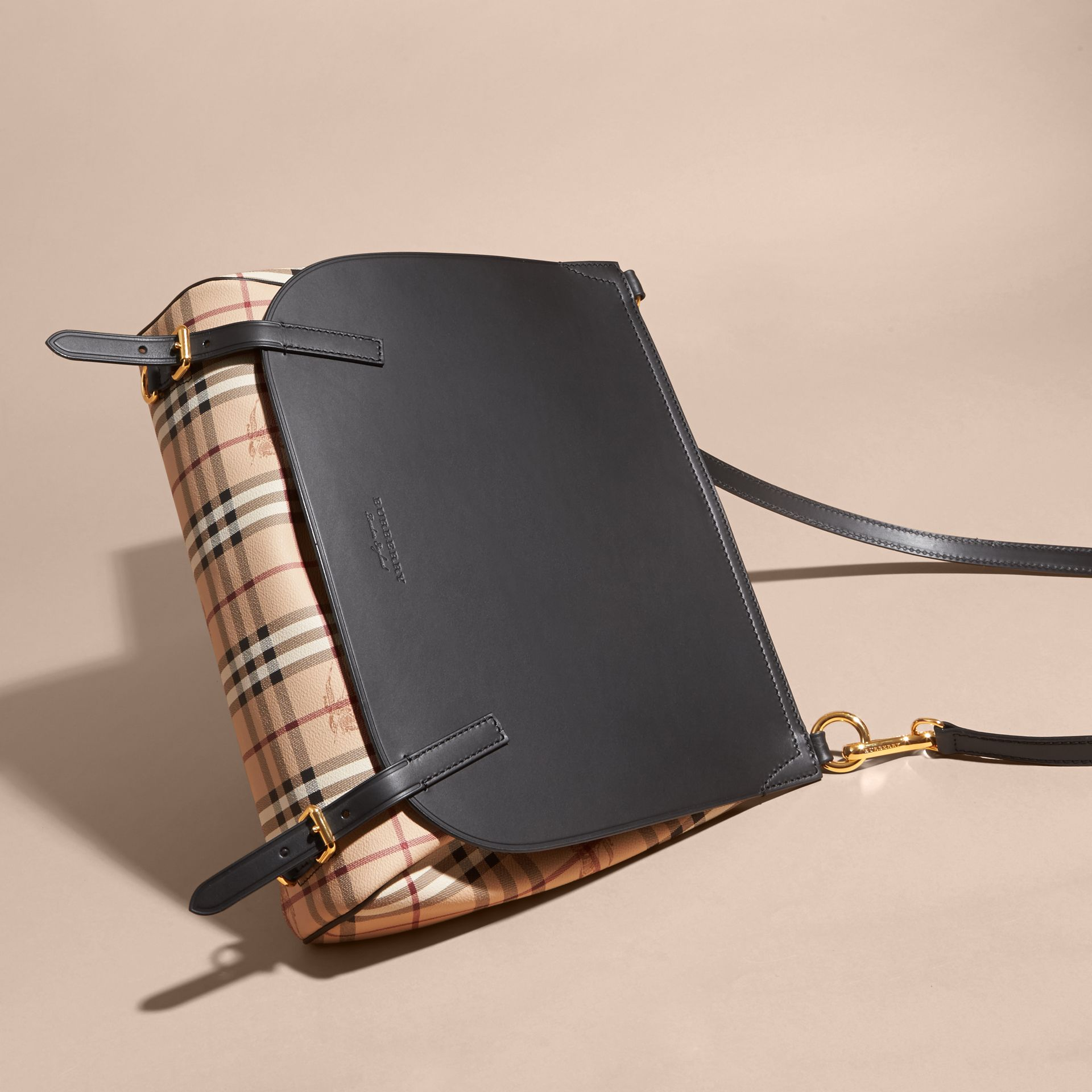 The Medium Bridle in Leather and Haymarket Check in Black - Men | Burberry United Kingdom - gallery image 7