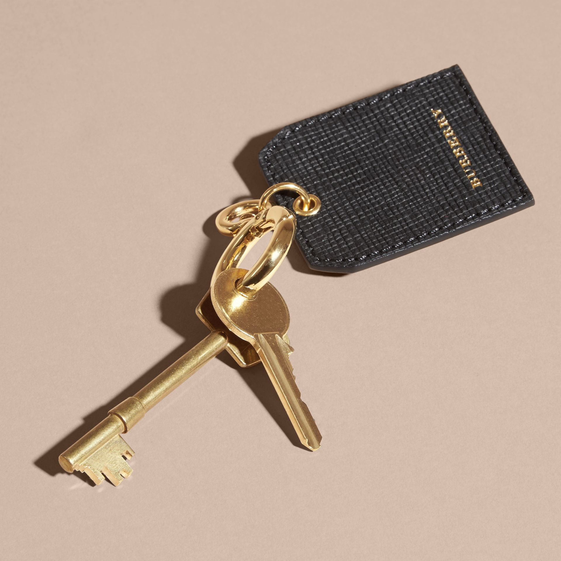 Leather Key Charm in Black - Women | Burberry - gallery image 3