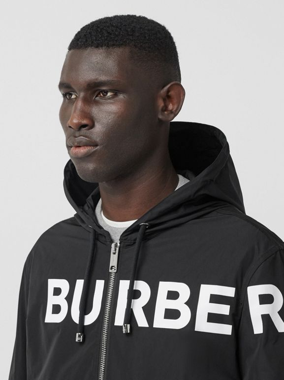 Horseferry Print Nylon Hooded Jacket in Black - Men | Burberry - cell image 1