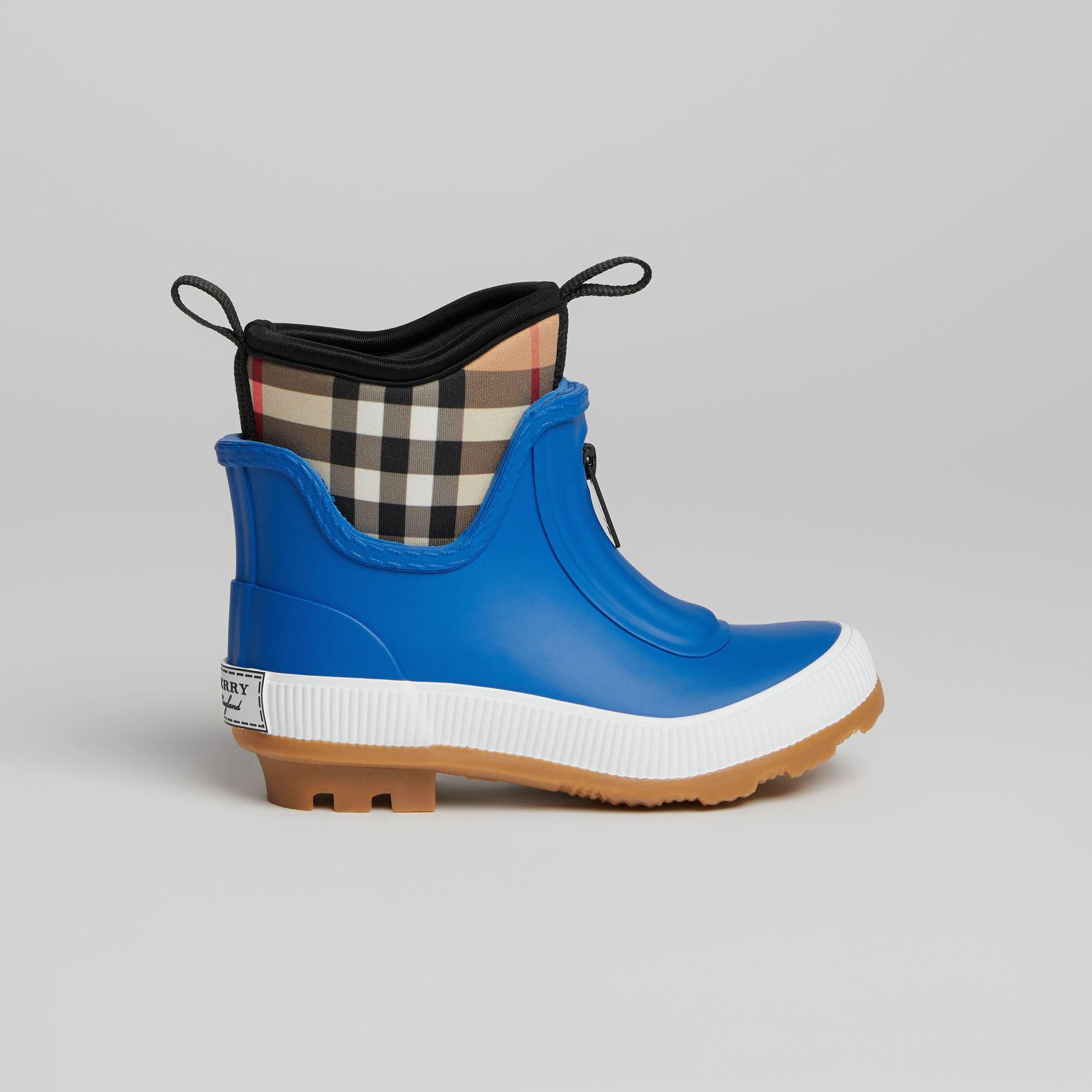 Vintage Check Neoprene and Rubber Rain Boots in Bright Canvas Blue | Burberry United Kingdom - gallery image 3