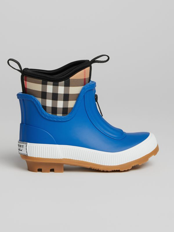 Vintage Check Neoprene and Rubber Rain Boots in Bright Canvas Blue | Burberry - cell image 3