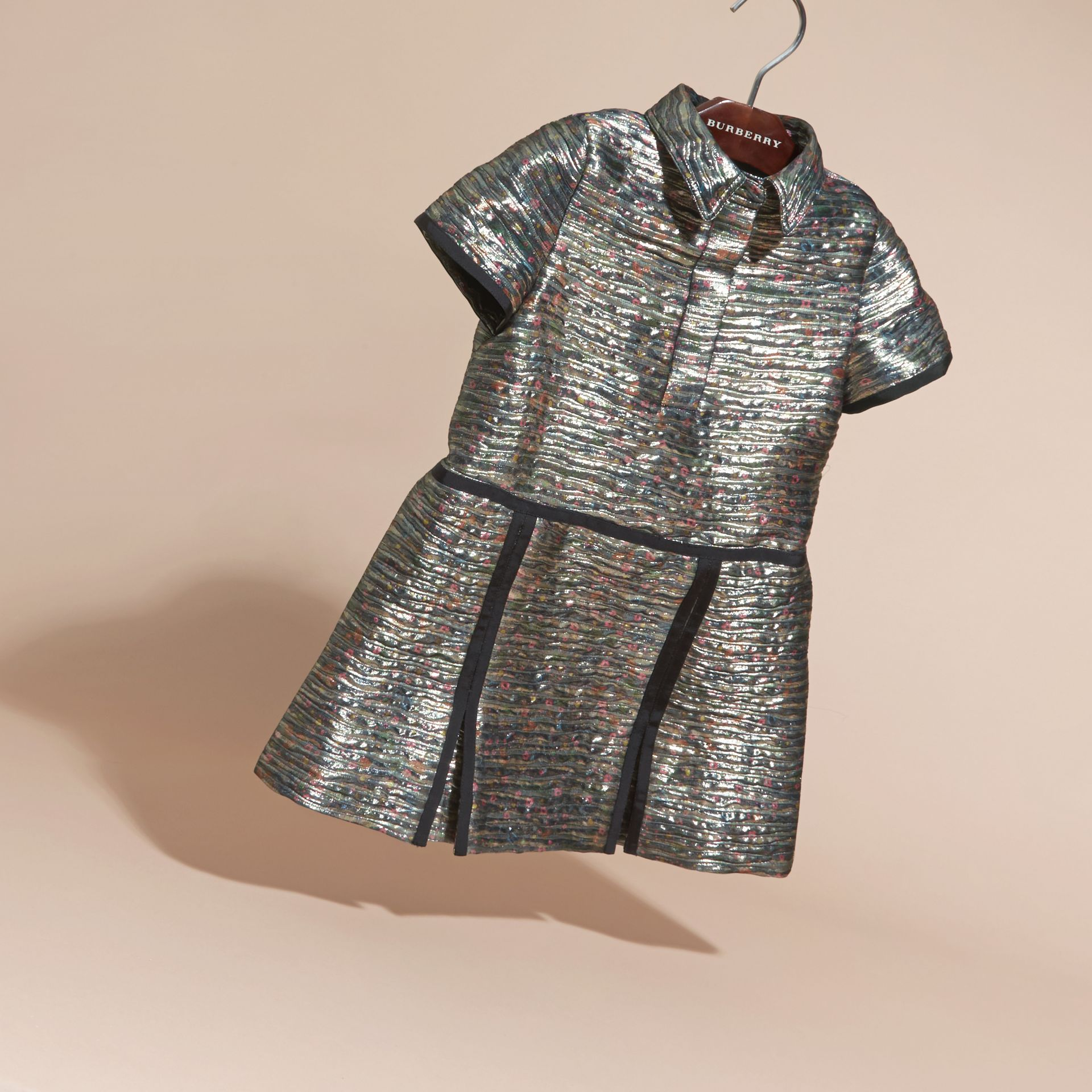 Mist grey Floral Print Metallic Silk Blend Shirt Dress - gallery image 3
