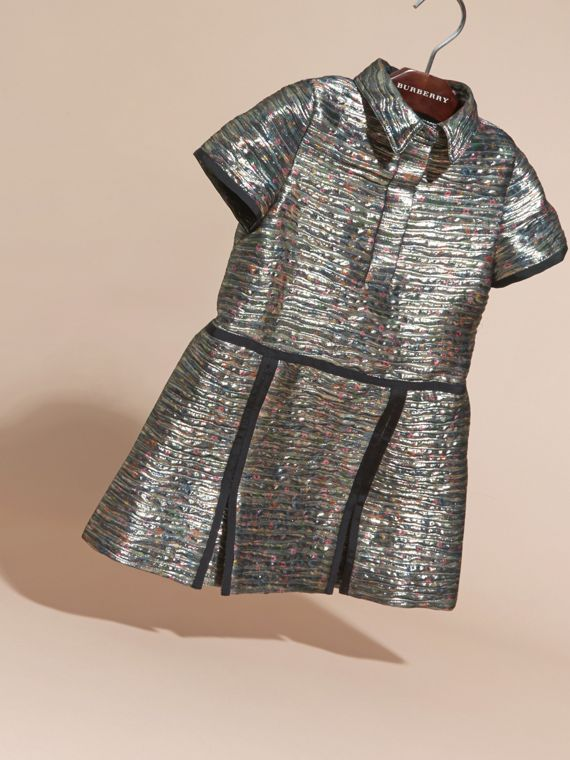 Mist grey Floral Print Metallic Silk Blend Shirt Dress - cell image 2