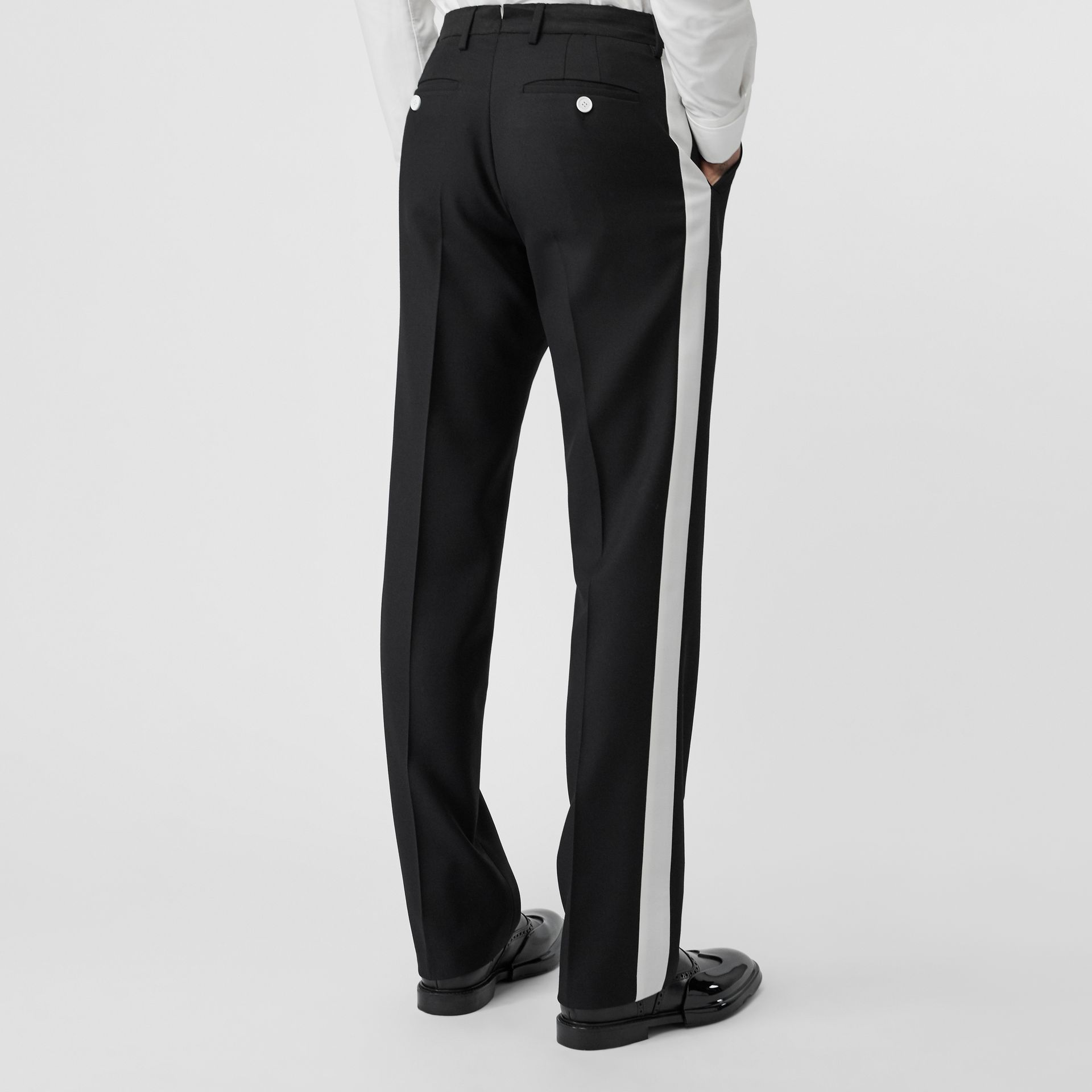 Stripe Detail Wool Twill Tailored Trousers in Black - Men | Burberry - gallery image 2