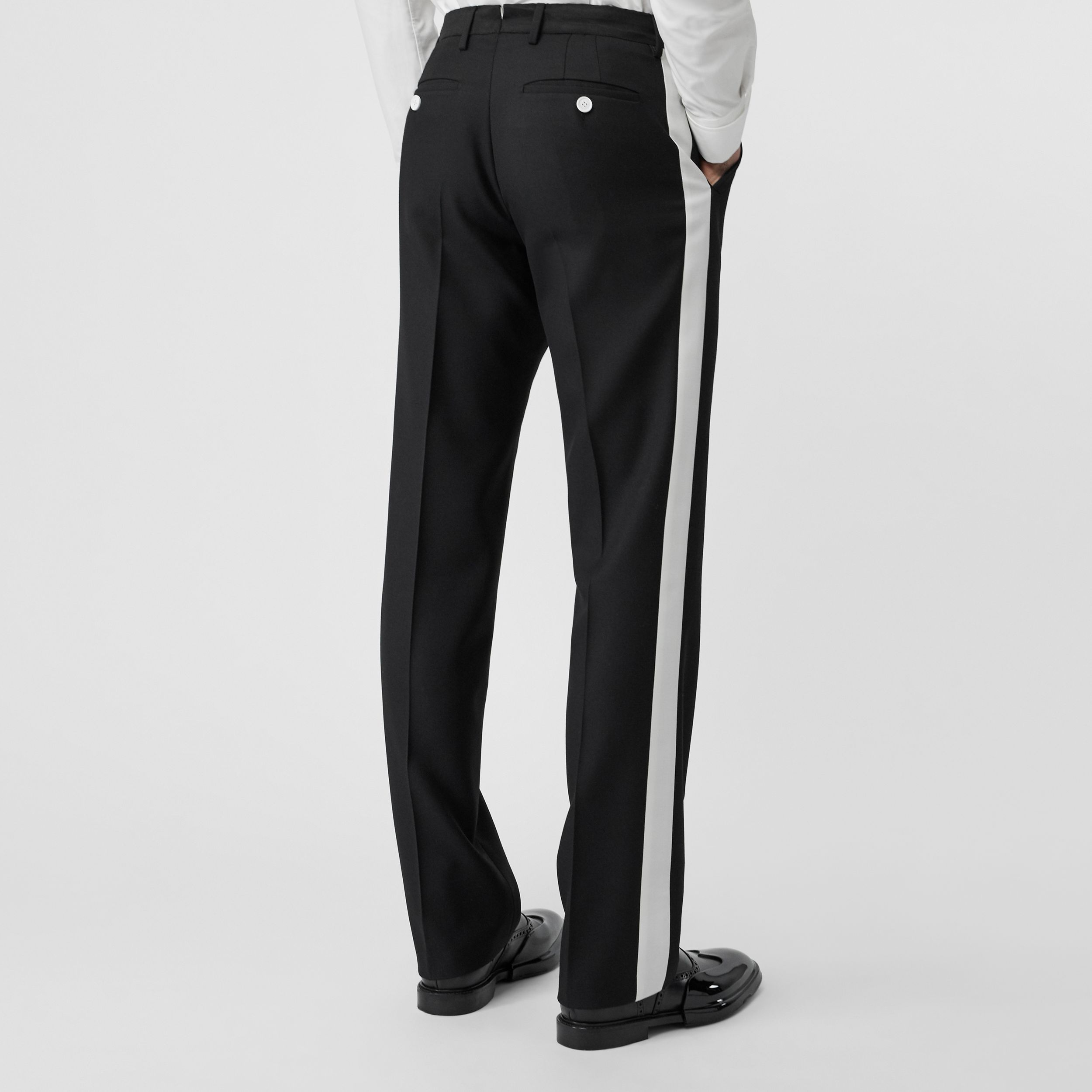 Stripe Detail Wool Twill Tailored Trousers in Black - Men | Burberry - 3