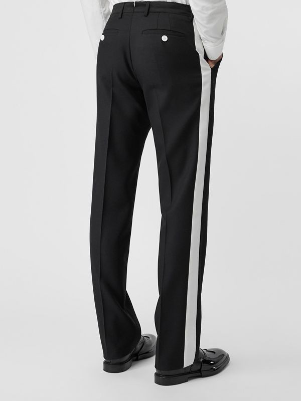 Stripe Detail Wool Twill Tailored Trousers in Black - Men | Burberry - cell image 2