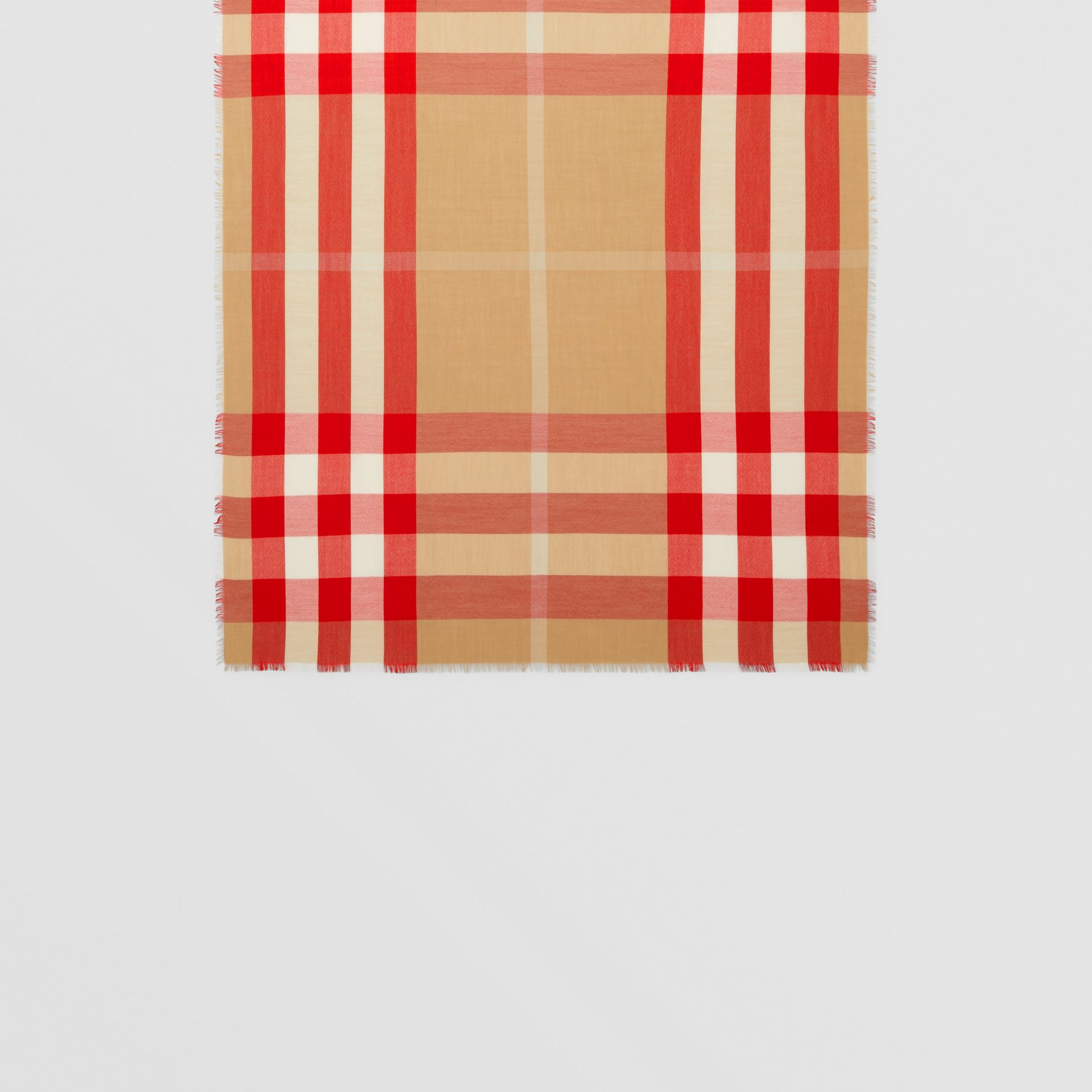 Lightweight Check Cashmere Scarf in Archive Beige/red | Burberry United Kingdom - gallery image 3