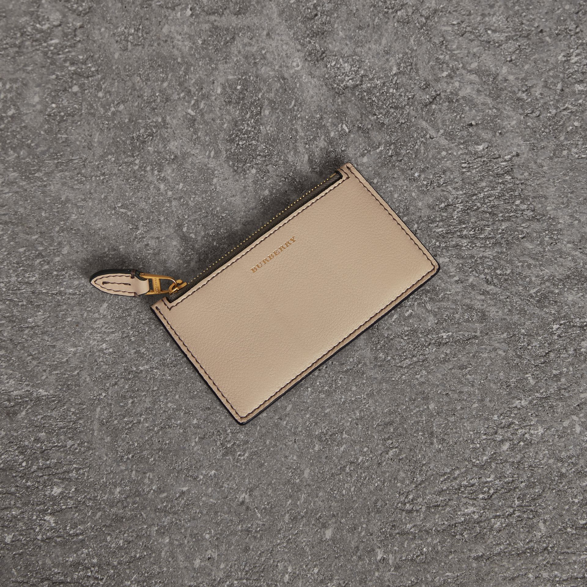 Two-tone Leather Card Case in Limestone | Burberry - gallery image 0