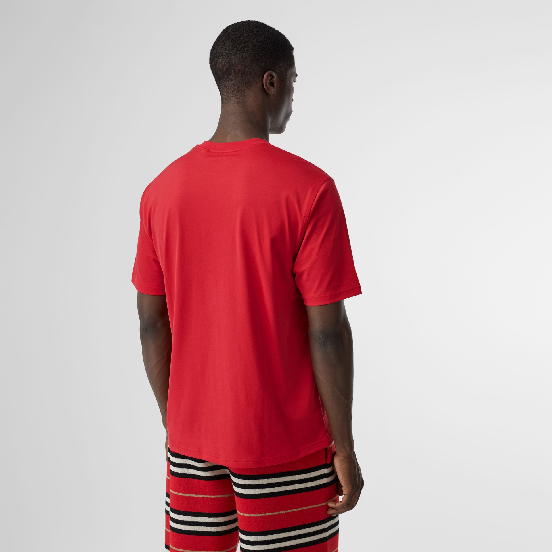 Horseferry Print Cotton T-shirt in Bright Red - Men | Burberry - gallery image 2