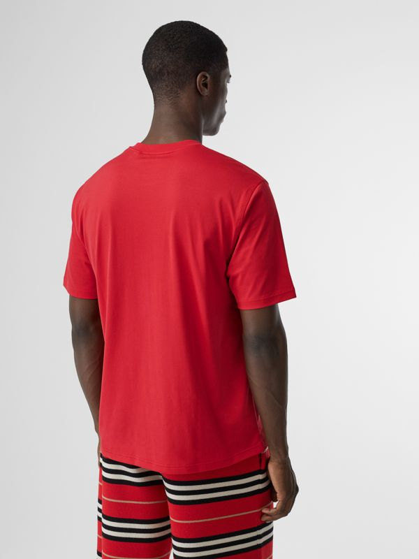 Horseferry Print Cotton T-shirt in Bright Red - Men | Burberry - cell image 2