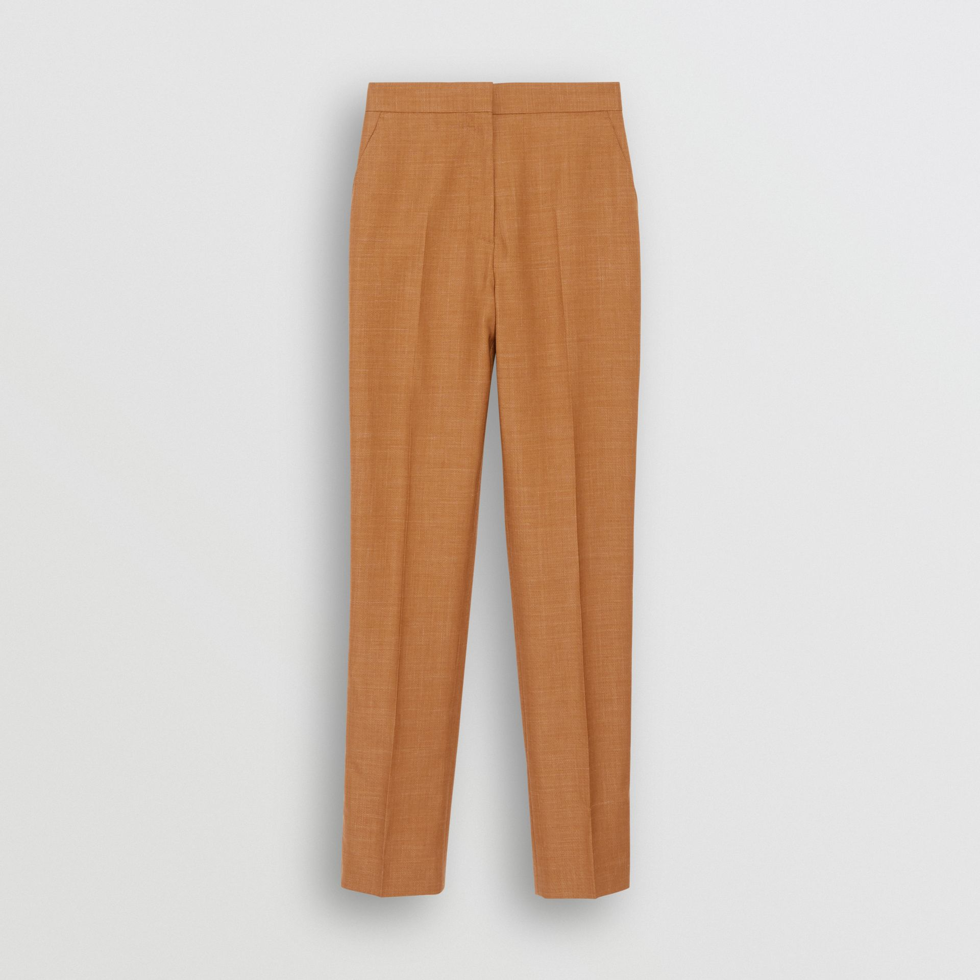 Wool Silk Mohair Linen Tailored Trousers in Bronze - Women | Burberry - gallery image 3