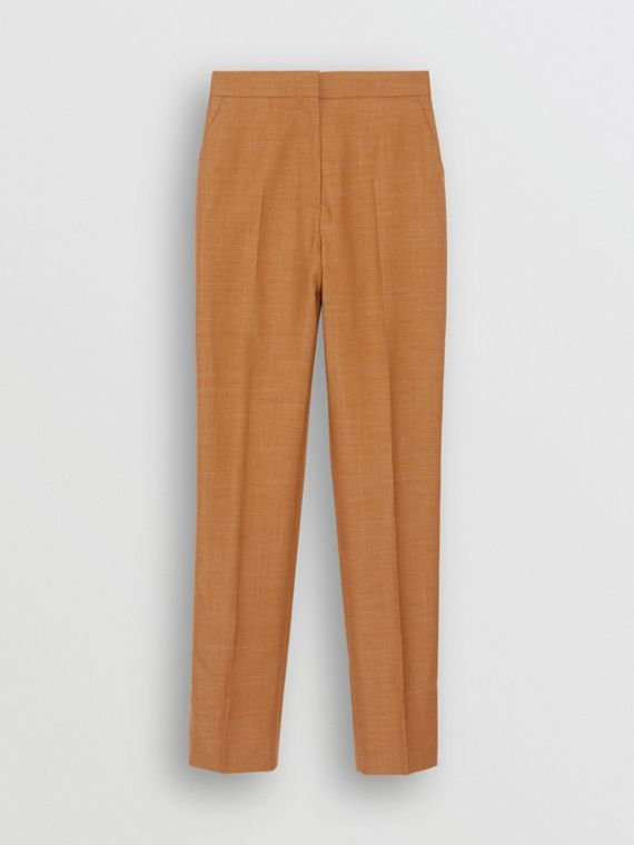 Wool Silk Mohair Linen Tailored Trousers in Bronze