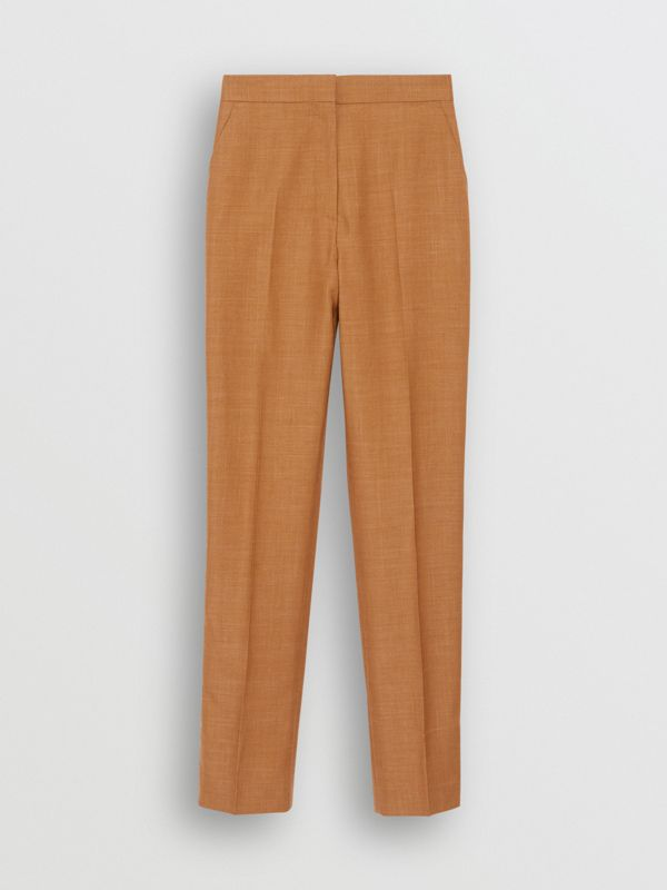 Wool Silk Mohair Linen Tailored Trousers in Bronze - Women | Burberry - cell image 3