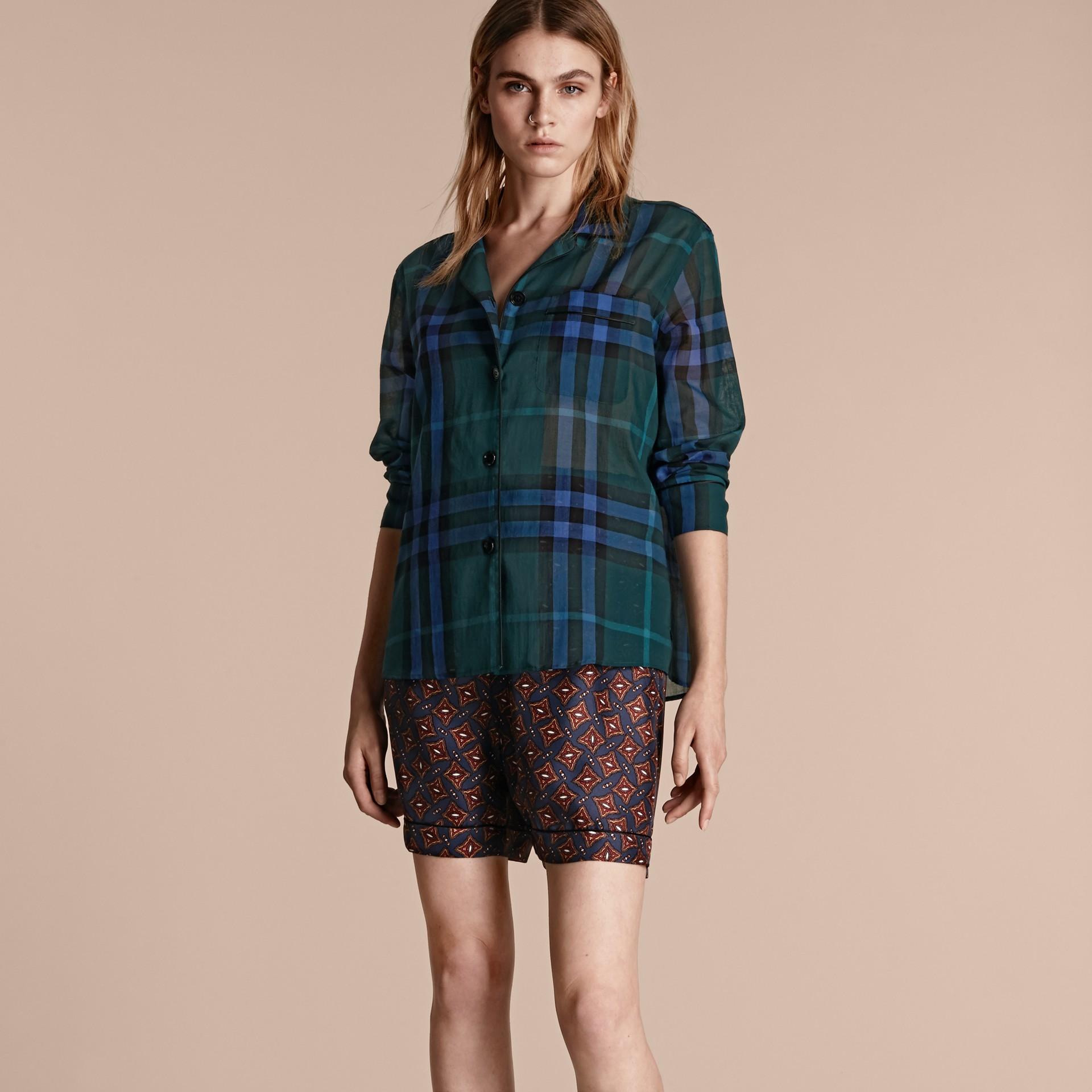 Dark teal Check Cotton Pyjama-style Shirt Dark Teal - gallery image 6