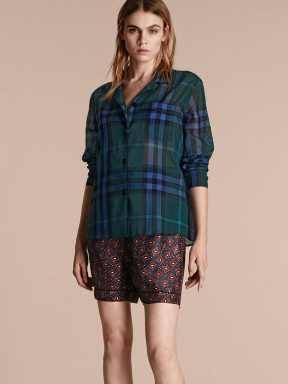 Camisa estilo pijama en algodón a cuadros Azulado Oscuro