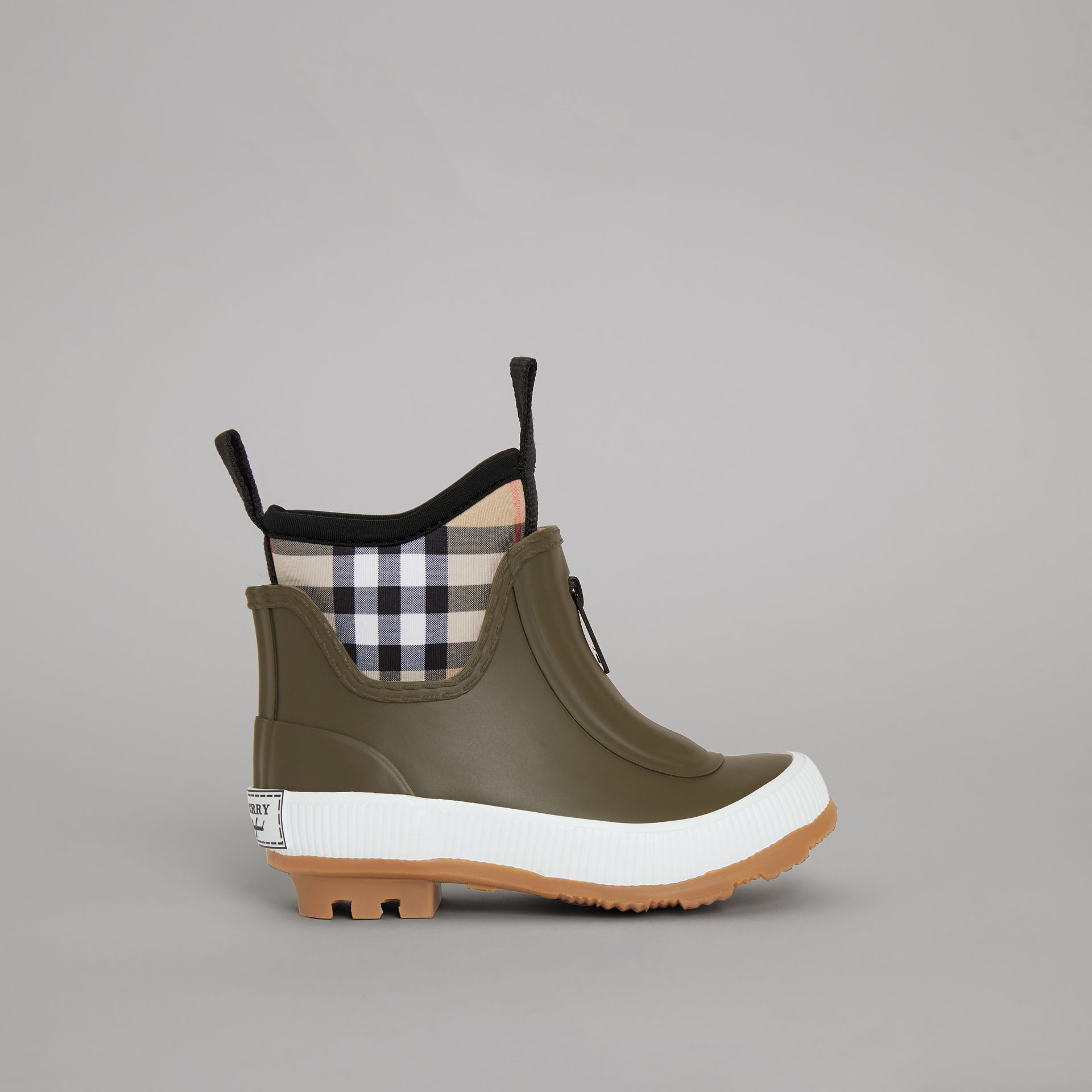 Vintage Check Neoprene and Rubber Rain Boots in Military Green - Children | Burberry - gallery image 3
