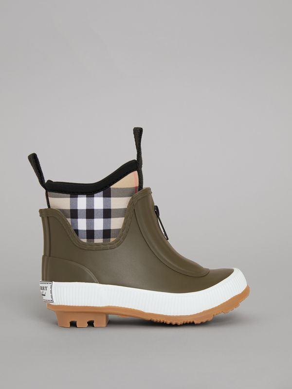 Vintage Check Neoprene and Rubber Rain Boots in Military Green - Children | Burberry - cell image 3