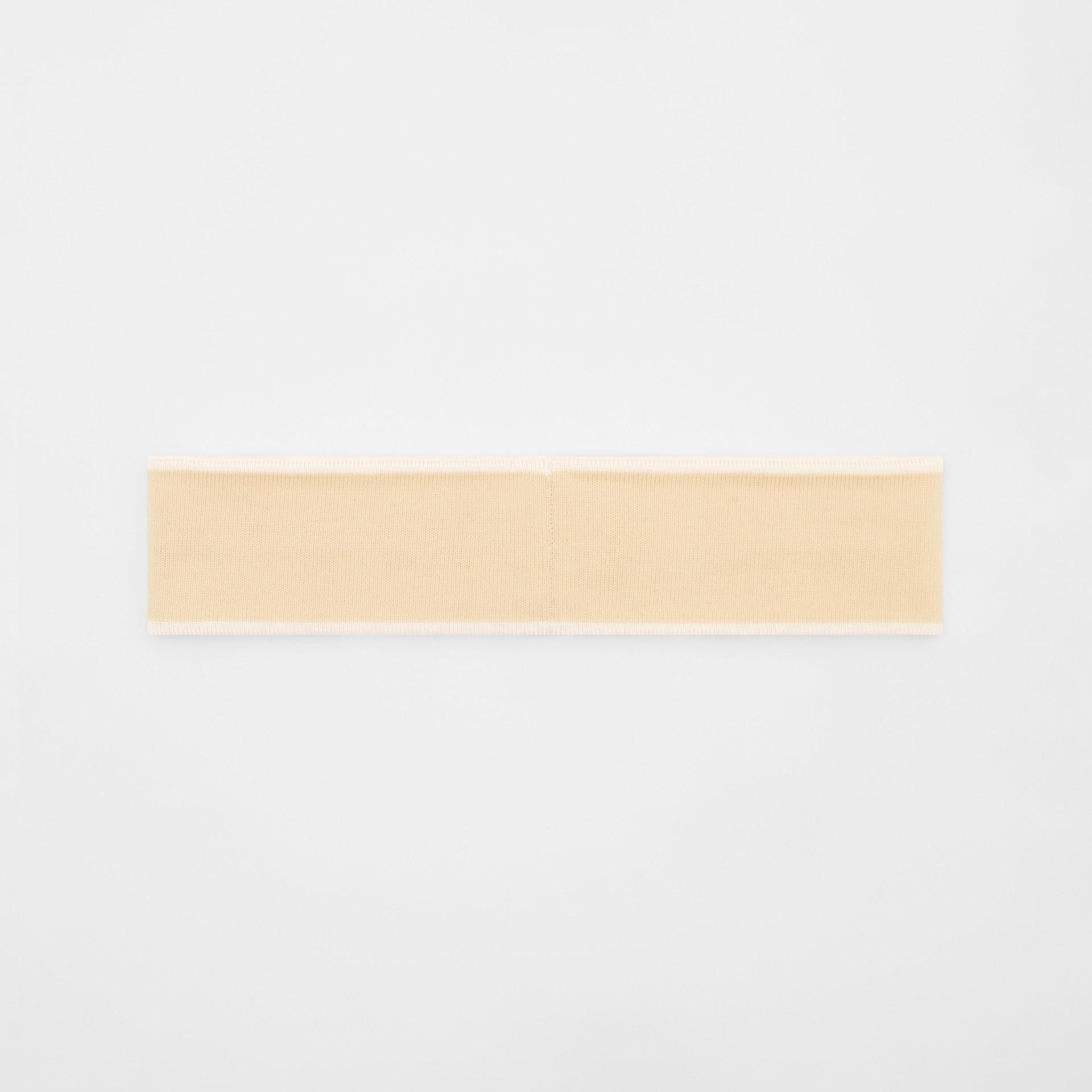 Logo Intarsia Wool Blend Headband in Beige/optic White | Burberry United States - gallery image 3