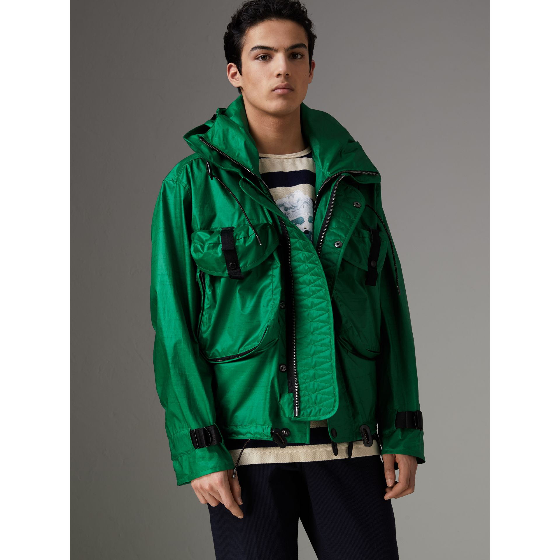 Packaway Hood Showerproof Jacket With Gilet in Vibrant Green - Men | Burberry - gallery image 7