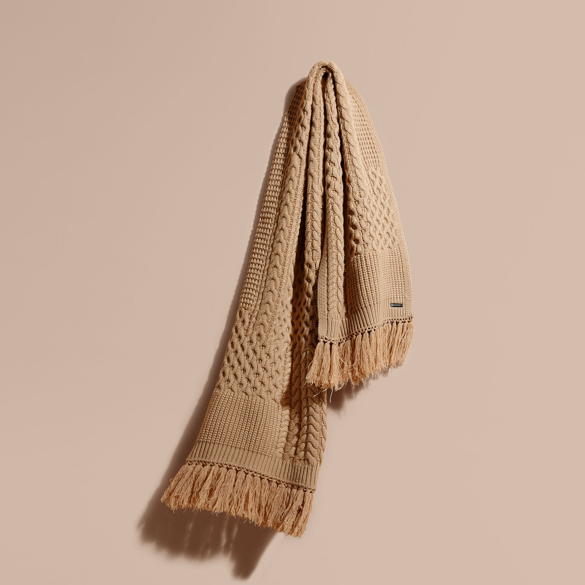 Camel Oversize Aran Knit Wool Cashmere Scarf Camel - gallery image 1
