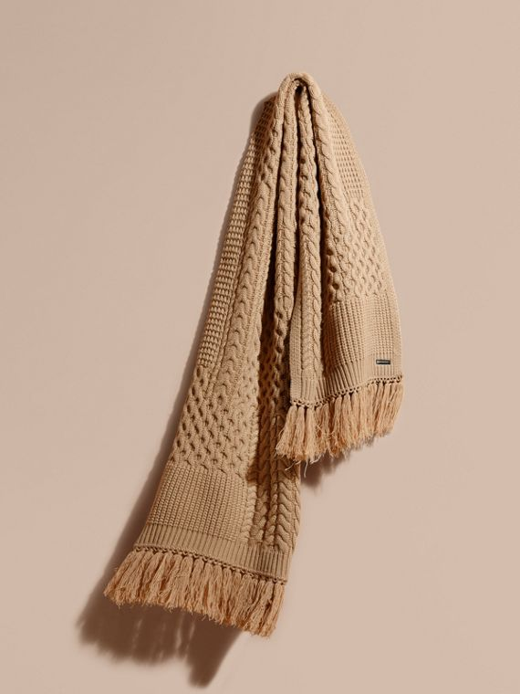 Oversize Aran Knit Wool Cashmere Scarf in Camel