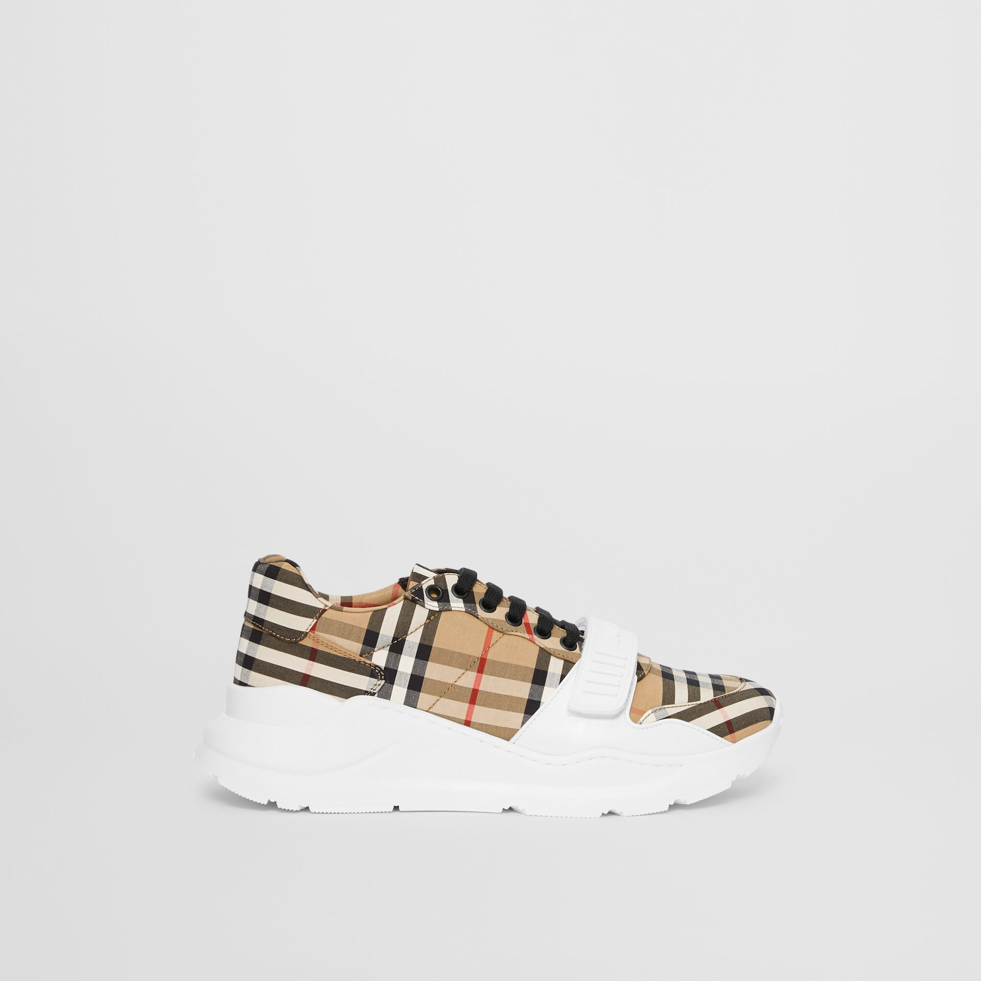 Vintage Check Cotton Sneakers in Archive Beige - Men | Burberry - gallery image 4