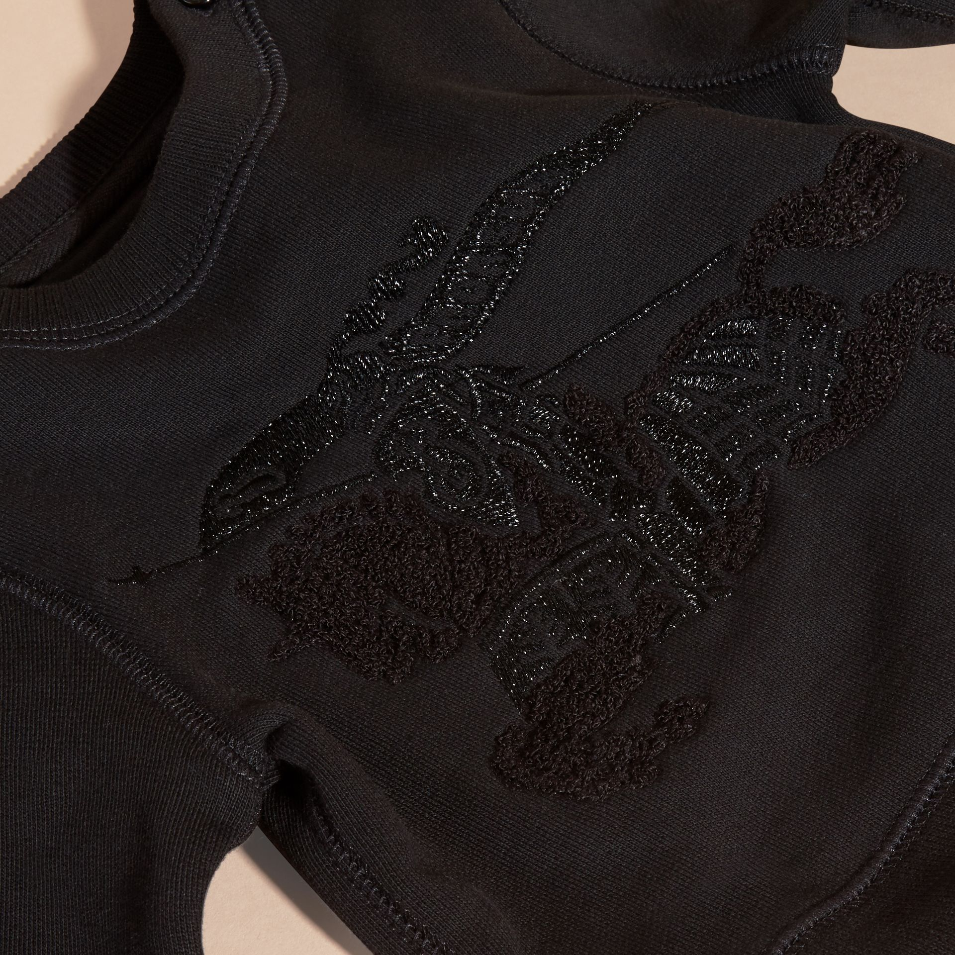 Black Equestrian Knight Detail Cotton Sweatshirt - gallery image 2