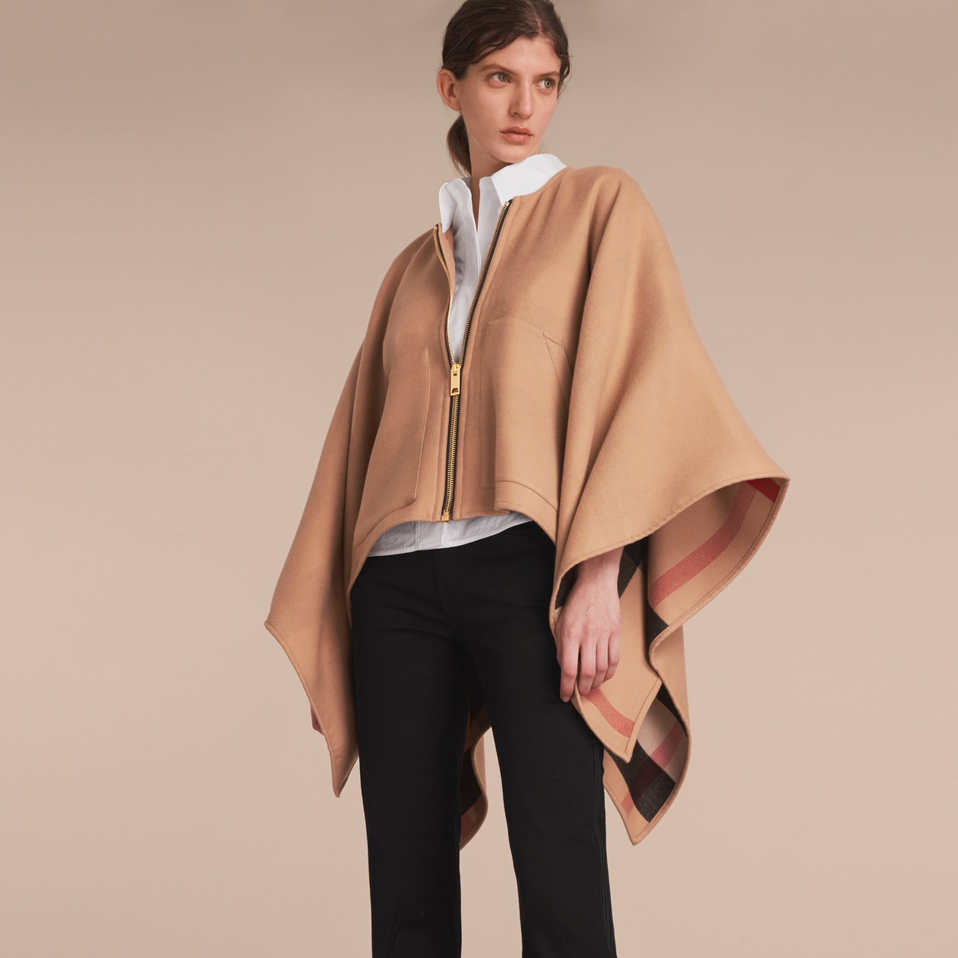 Merino Wool Poncho in Camel - Women | Burberry - gallery image 6