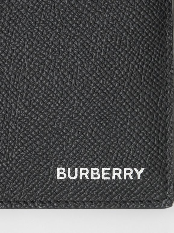 Grainy Leather Bifold Wallet with ID Card Case in Black - Men | Burberry - cell image 1