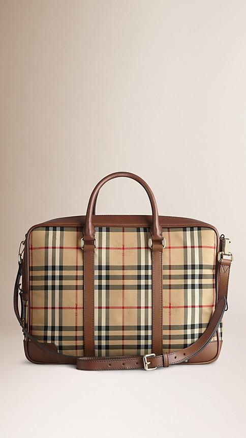 Tan Horseferry Check Crossbody Briefcase - Image 3
