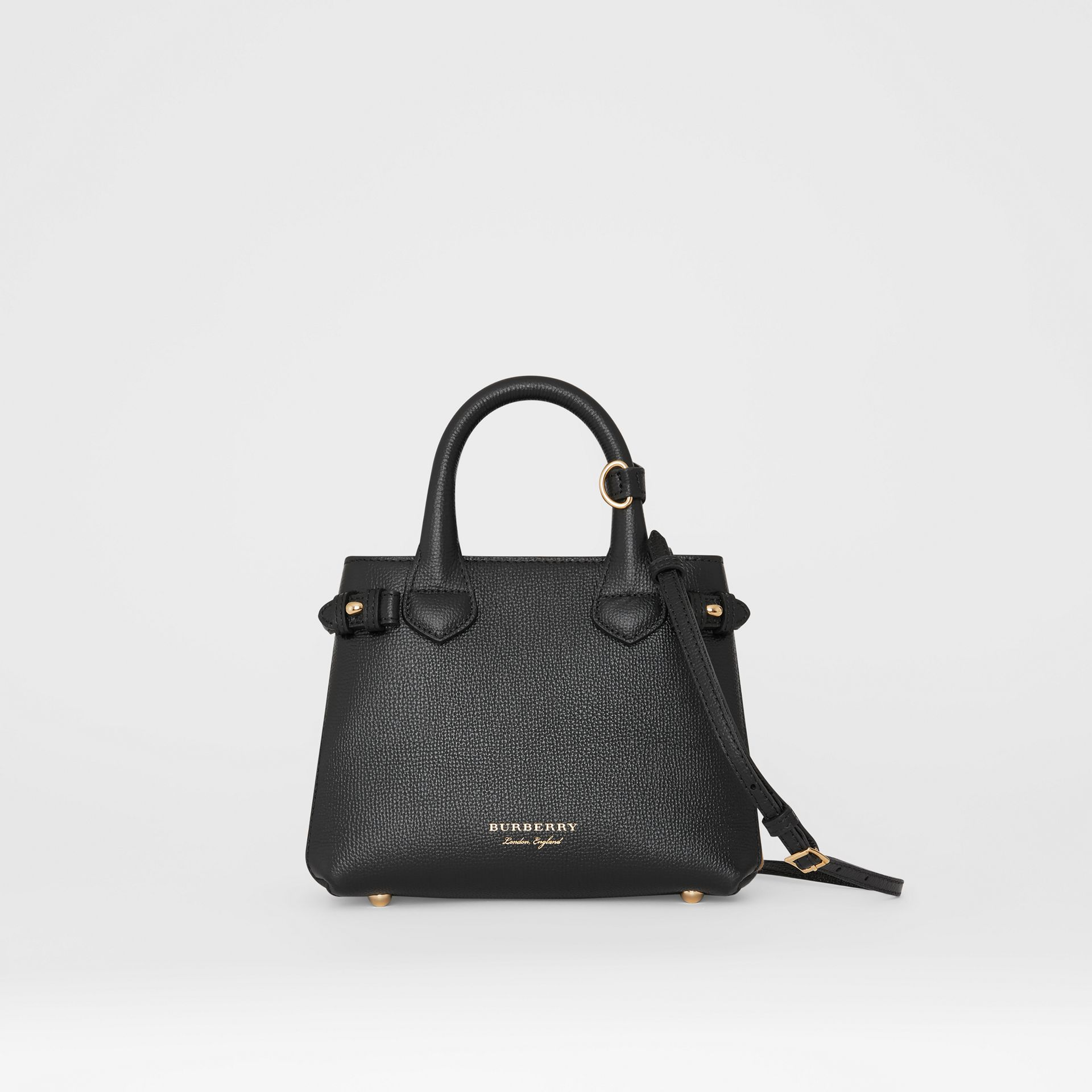 The Baby Banner in Leather and House Check in Black - Women | Burberry United Kingdom - gallery image 0