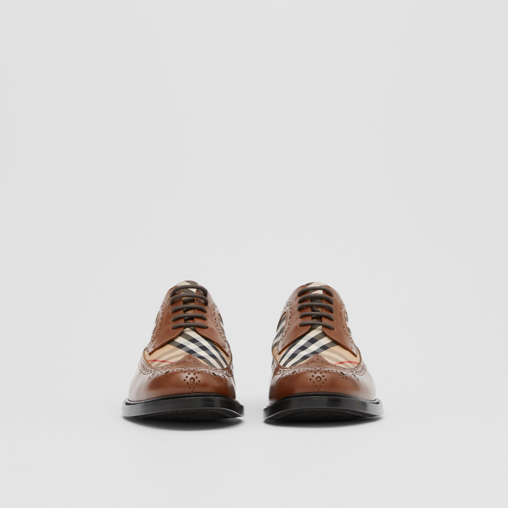 Brogue Detail Leather and Vintage Check Derby Shoes in Tan/archive Beige - Men | Burberry United Kingdom - gallery image 2