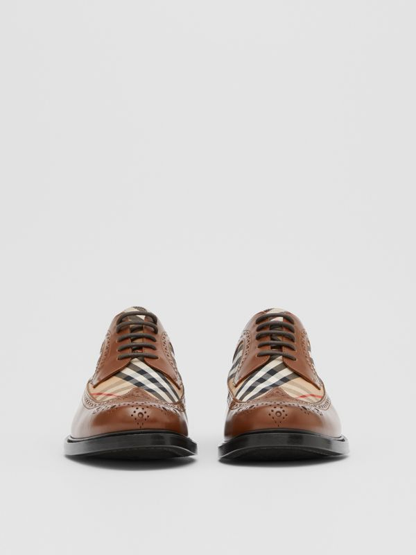 Brogue Detail Leather and Vintage Check Derby Shoes in Tan/archive Beige - Men | Burberry United Kingdom - cell image 2
