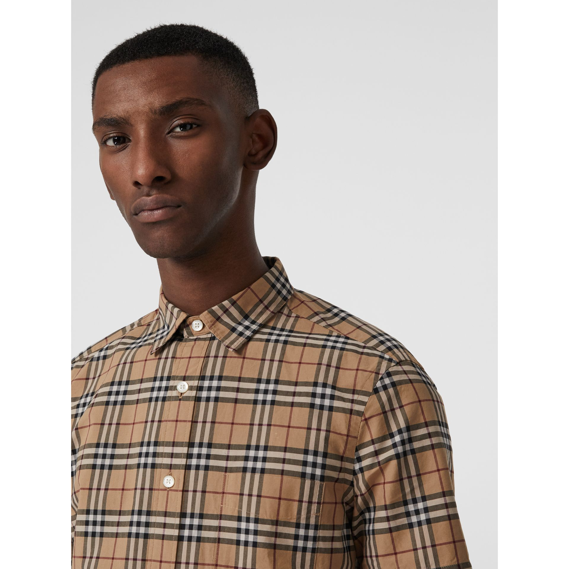 Short-sleeve Check Cotton Shirt in Camel - Men | Burberry Australia - gallery image 1
