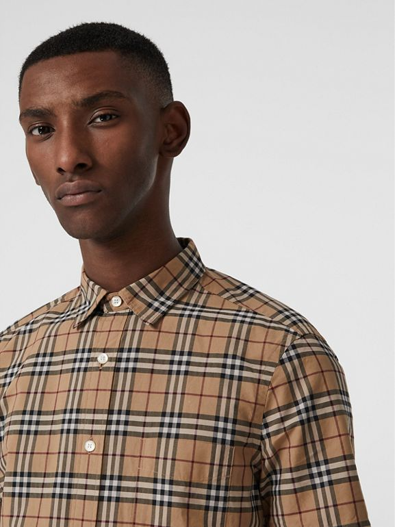 Short-sleeve Check Cotton Shirt in Camel - Men | Burberry United Kingdom - cell image 1