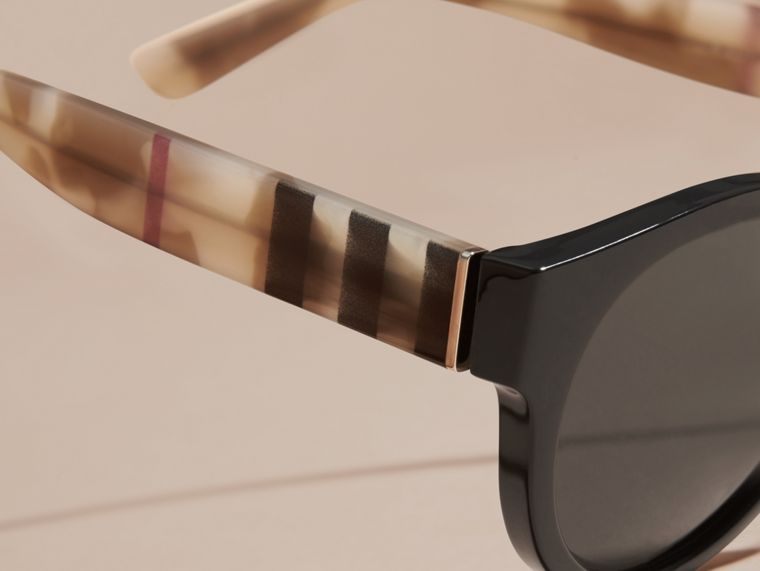 Check and Camouflage Detail Round Frame Sunglasses in Black - Women | Burberry - cell image 1