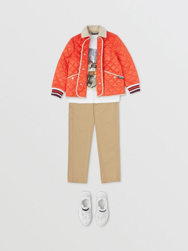 Corduroy Trim Lightweight Diamond Quilted Jacket in Bright Coral Orange | Burberry Australia - cell image 2