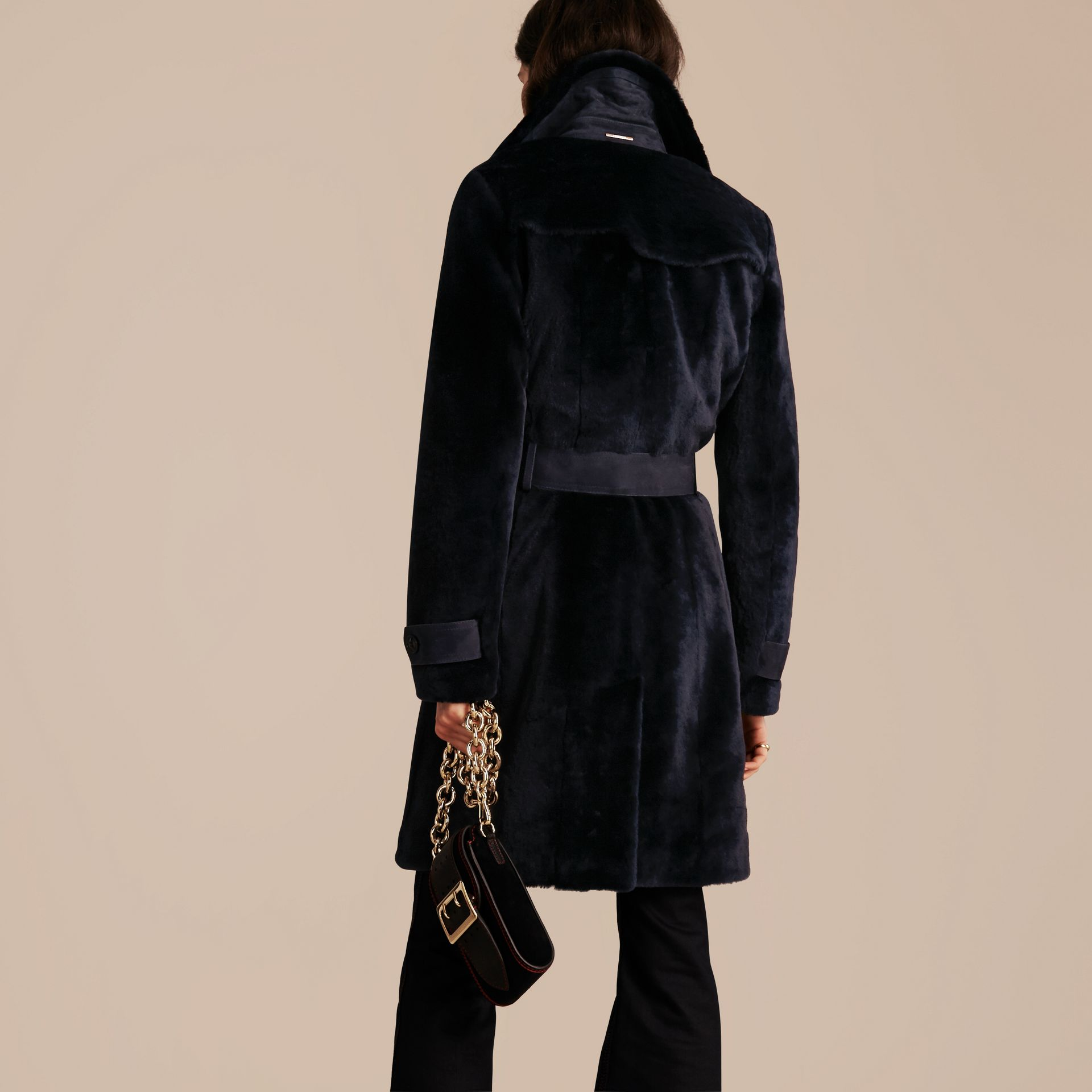 Navy Double-breasted Shearling Trench Coat - gallery image 3