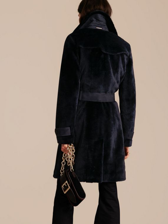 Navy Double-breasted Shearling Trench Coat - cell image 2