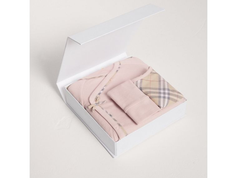 Check Cotton Three-piece Baby Gift Set in Powder Pink - Girl | Burberry Australia - cell image 2