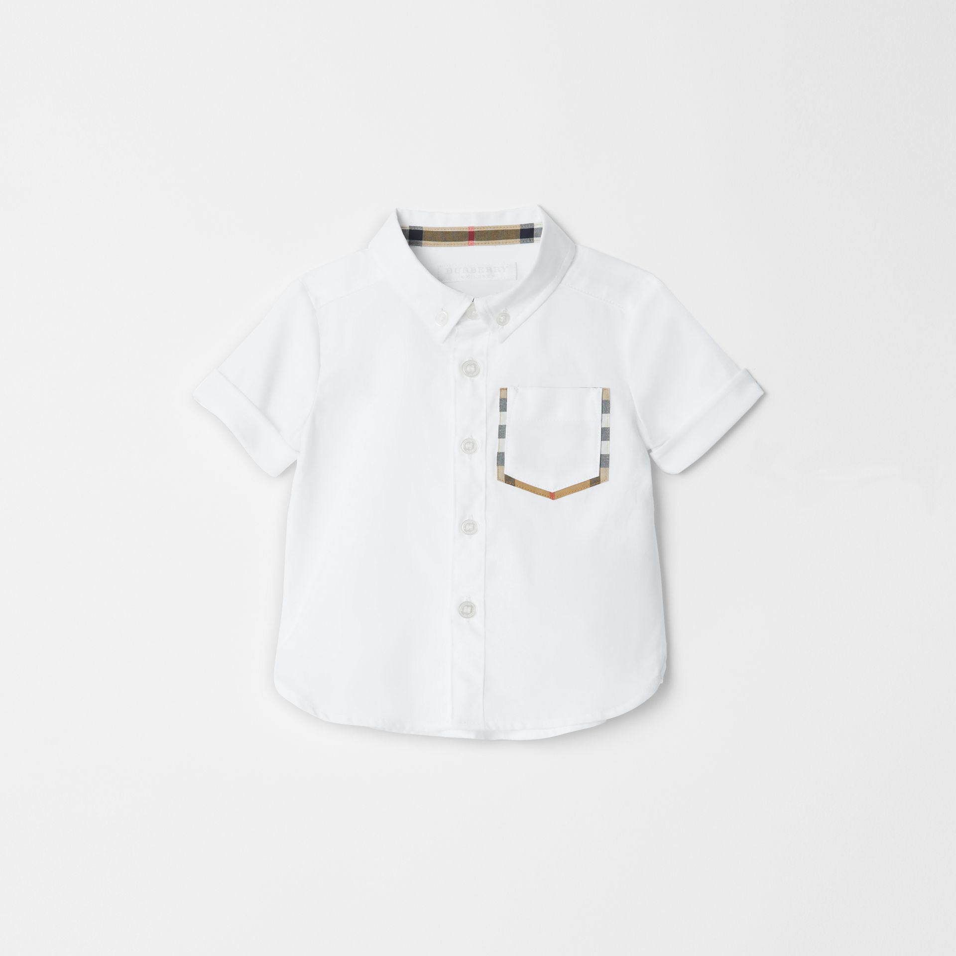 Short-sleeve Check Detail Cotton Oxford Shirt in White - Children | Burberry United Kingdom - gallery image 0