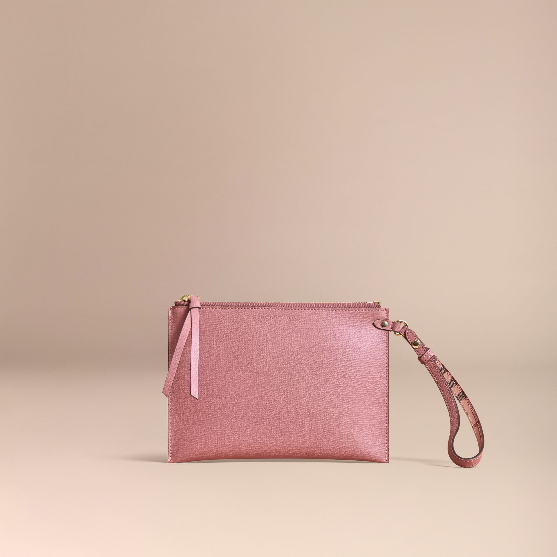 Haymarket Check and Leather Pouch in Light Elderberry - Women | Burberry - gallery image 6
