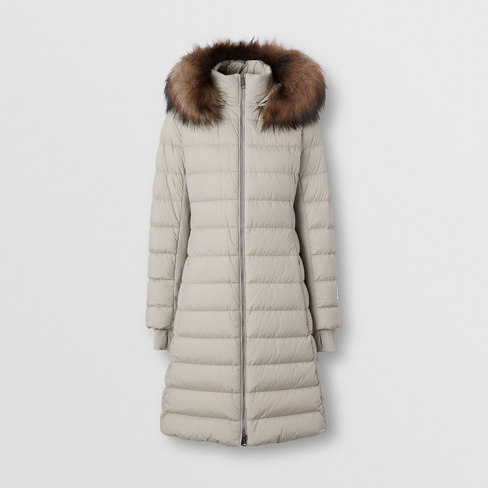 Detachable Faux Fur Trim Hooded Puffer Coat in Neutral Olive - Women | Burberry United Kingdom - gallery image 3